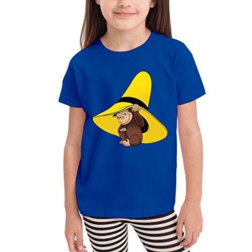 Quxueyuannan Children's T-Shirt, Curious George Pattern Shirt Short Sleeve Cotton Graphic Tee for Girls Boys Kids