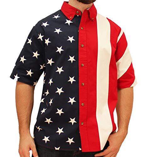 Men's Half Stars Half Stripes American Flag Woven Polo Shirt (Medium)