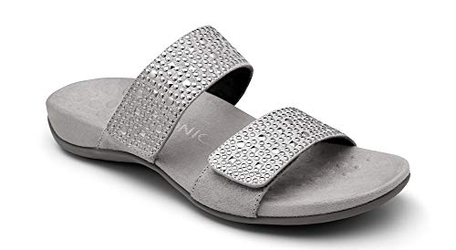 Vionic Women's Rest Samoa Slide Sandal - Ladies Adjustable Walking Sandals with Concealed Orthotic Arch Support Pewter 10 Medium US