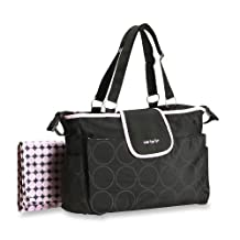 Carter's Tonal Dot Diaper Bag in Black and Pink