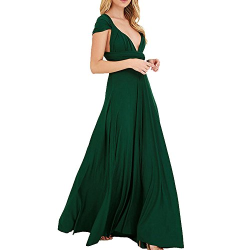 Donna Vestito Bonboho Lungo Collo Elegante cerimonia Verde da Sera V BTCqU