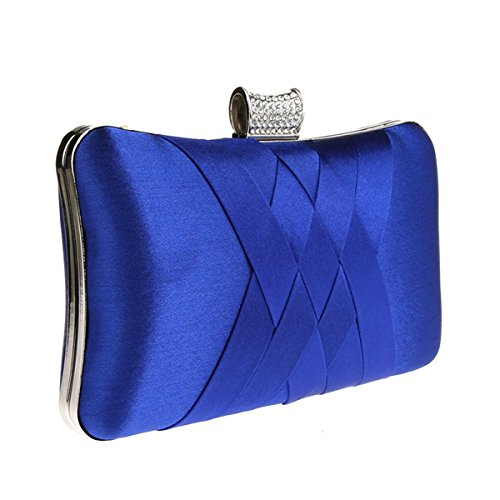 Royal Blue royal Clutch Chain Satin Girls Handheld Purse Women Handbag Evening Ladie's Bag Party blue Wedding Plain 1xpwq45F