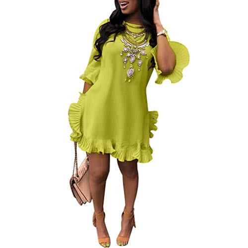 ★ZFK_DRESS Women's Boat Neck Mini Dress Solid Pleated Flare Sleeve Irregular Ruffled Trim Dresses Green