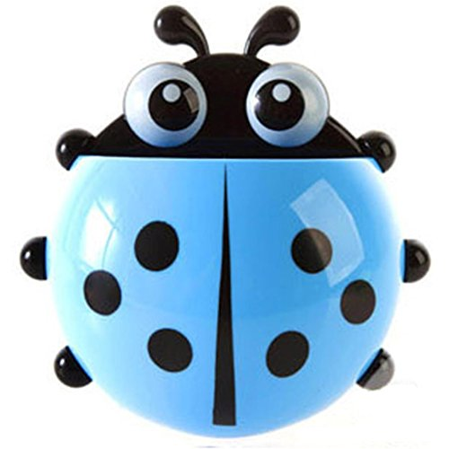 Besde Cute Creative Cartoon Sucker Toothbrush Holder Ladybug Bathroom Toothpaste Set (Blue)