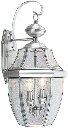 Livex Lighting 2251-91 Monterey 2 Light Outdoor Brushed Nickel Finish Solid Brass Wall Lantern with Clear Beveled Glass