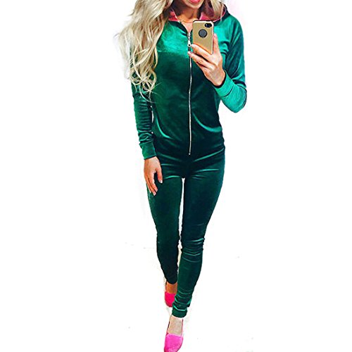 Velour Tracksuit Costume (Women's Fashion Zipper Long Sleeve Hoodie and Pants Tracksuit)