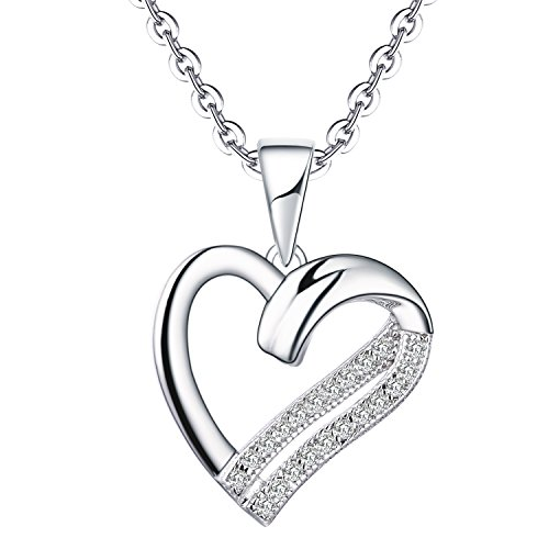 YL 18K White Gold Diamond Heart Pendant Necklace (0.11 Carat, H-I Color SI1 Clarity),18+2