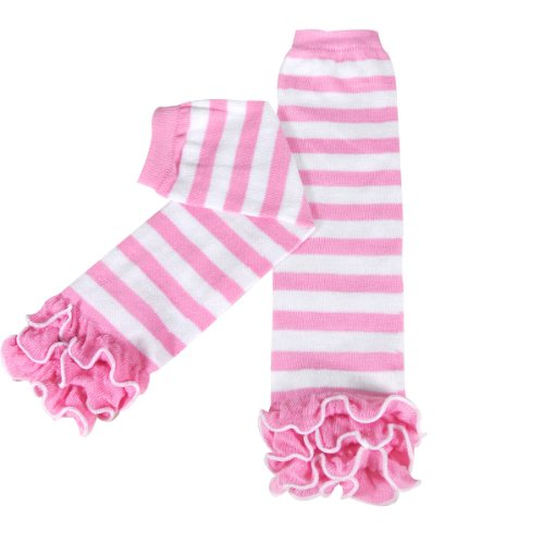 Wrapables Dots, Hearts, and Ruffles Colorful Baby Leg Warmers, Stripes Pink/White, One Size