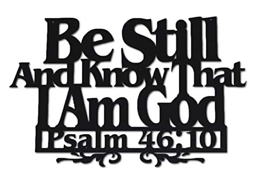 Inspirational Word Art, Christian Faith Biblical Verse Wall Sign, Hand-Made Wooden Decoration Plaque for Home, Office, Church (Be Still)