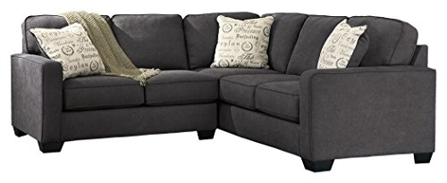 - Ashley Furniture Signature Design - Alenya 2-Piece Sectional - Left Arm Facing Loveseat & Right Arm Facing Sofa - Charcoal Gray