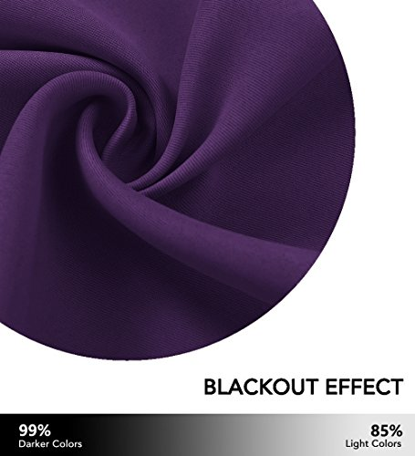 NICETOWN Blackout Curtains Drapery Panels - Window Treatment Royal Purple Blackout Drapes for Bedroom/Living Room Window, 52 inch Wide X 45 inch Long, 2 Panel Set - bedroomdesign.us