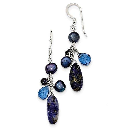 Sterling Silver Dangle Shepherd hook Blue Sandstone Blue Freshwater Cultured Pearl -