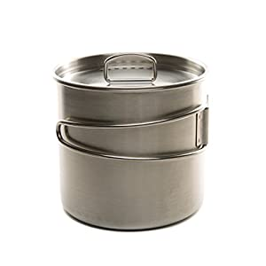 DZO Stainless Hiking Camping Backpacking Cup/Pot with Lid, Folding Handles and Measurement Marks - 20 oz/600 ml size