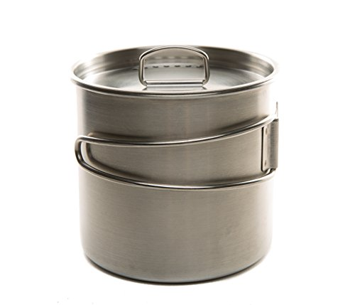 Folding Pot (DZO Stainless Hiking Camping Backpacking Cup/Pot with Lid, Folding Handles and Measurement Marks - 20 oz/600 ml size)