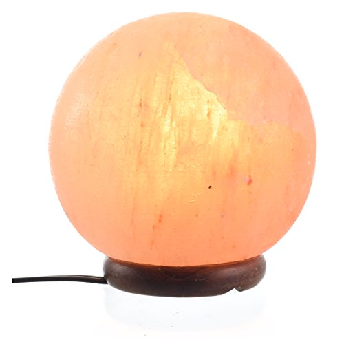 ShartPro Ball Natural Himalayan Salt Lamp - Handcrafted From Himalayan Rock Salt crystals - Beautiful Genuine Neem Wood Base - With 6'' UL Cord And Dimmable Switch + 2 Color bulbs, Clear and Red by ShartPro