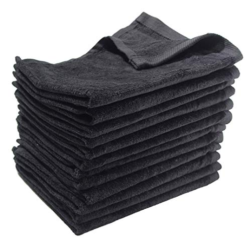 SHOPINUSA Budget Deal ! Great Value Towels, Deluxe Hemmed Fingertip Velour Towel 11in x 18in, 100% Cotton (240, Black)