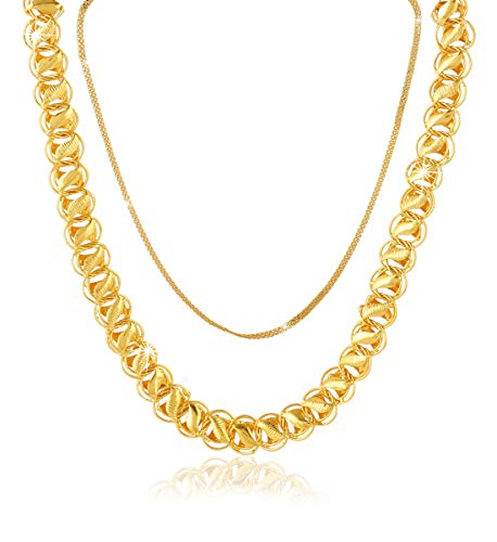 Yellow Chimes Combo Of 2 Pcs Gold-Plated Stylish And Trendy Latest Fashion Interlinked Designer Party Wear Neck Chains…