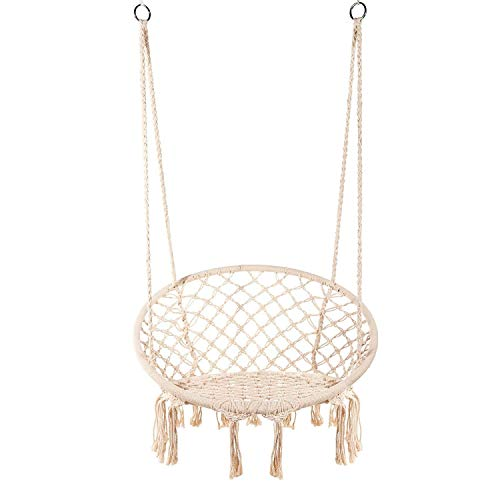 Lelly Q Hanging Rope Hammock Chair Swing Seat, Large Brazilian Hammock Net Chair for Any Indoor Outdoor Spaces – Max. 265 lbs – 2 Seat Cushions (Beige)