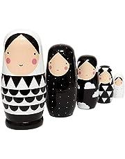 SUPVOX Muñecas Rusas de anidación niñas apilables muñecas de Madera 5 Capas matrioska muñecas Adornos colección Juguete cumpleaños Regalo de año Nuevo