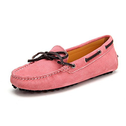Ausland Womens Laced Leather Driving Moccasin V7051 New Pink