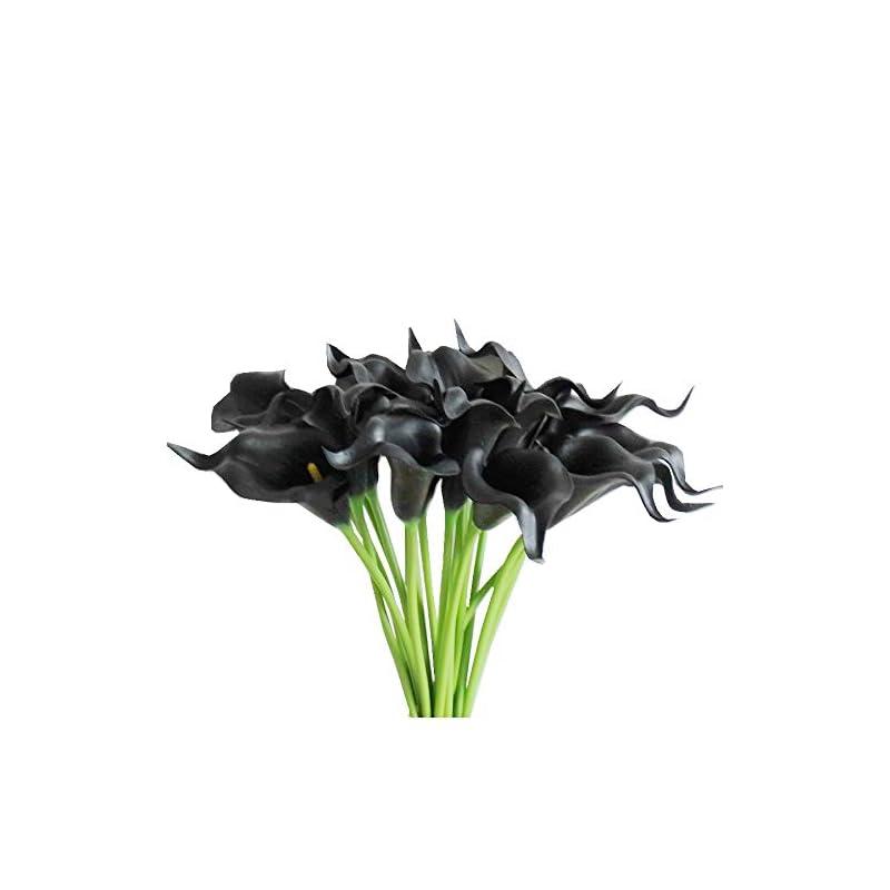 "silk flower arrangements mandy's 20pcs black artificial calla lily silk flowers 13.4"" for home kitchen & wedding (vase not include)"
