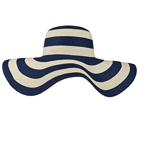 (Lux Accessories Straw Hat Blue White Stripe Wide Brim Fedora Floppy Cloche Derby Sun Hat Cap)