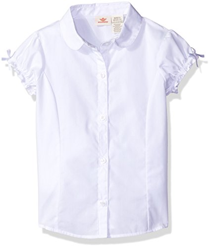 Dockers Little Girls' Uniform Short Sleeve Woven Blouse with Bow Sleeve, White, (Little Girls Blouse)