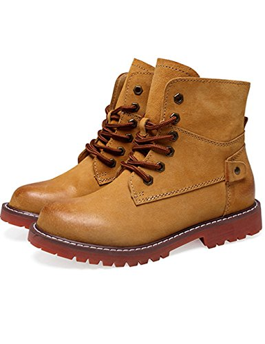 Boots Slip Resistant Yellow Lace Zoule Zoulee Military Hiking Outdoor Combat Waterproof Up Boots Fashion Shoes Ankle Brown Work Women's IqF0A