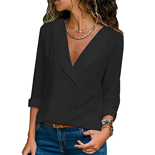 (XUYUS Women's Sexy V Neck T-Shirt Long Sleeve Chiffon Blouses Casual Loose Tunic Tops (XL, Black))