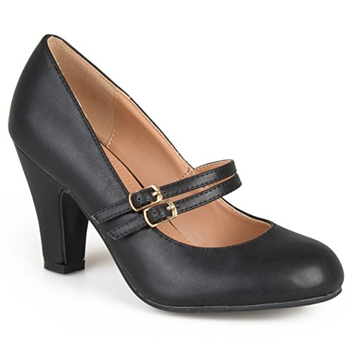 Journee Collection Womens Matte Finish Classic Mary Jane Pumps Black, 7.5 Regular US