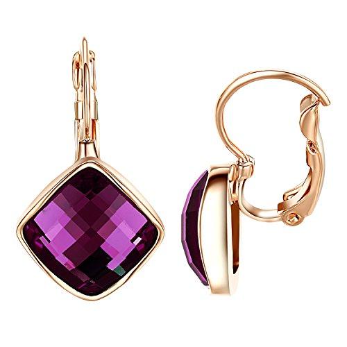 (Yoursfs Purple Crystal Leverback Earrings 18k Rose Gold Plated Vintage Earrings for Women )