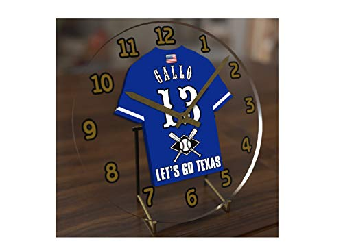FanPlastic M L B Baseball Jersey Themed Clock - All American League Team Colours - Our Very OWN 'Let's GO' Range of Clocks !! (Let's Go Rangers Edition)