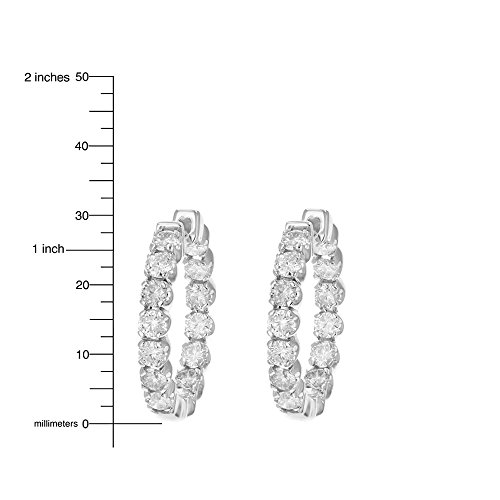 4 cttw SI2-I1 Certified 14K White Gold Diamond Inside Out Hoop Earrings (J-K) by Vir Jewels (Image #3)