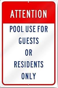 Atención piscina Uso señal 12* 16inch reflectante de aluminio de calibre pesado