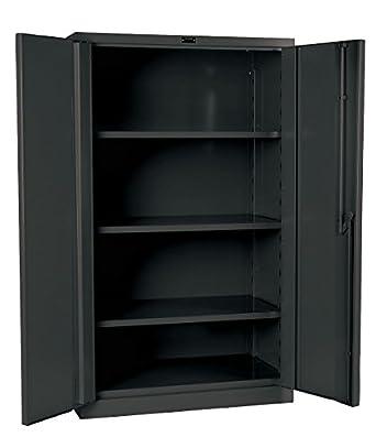 "Hallowell HW6SC8460-3CL Gray Steel DuraTough Classic All Welded Heavy Duty 16 Gauge Storage Cabinet, Assembled, 48"" Width x 60"" Height x 24"" Depth, 3 Shelves"