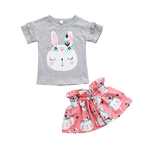 Easter Dress Set - G-real Rabbit Outfits, Toddler Kids Little Girls Cute Cartoon Bunny Bow Applique T-Shirt Tops+Floral Pants (Gray, 4T)