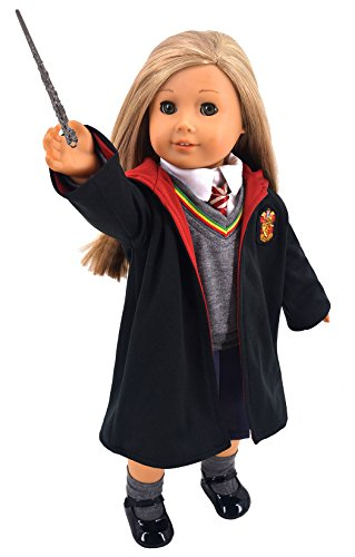 Ebuddy Hermione Granger- Inspired Doll Clothes Shoes for American Girl Dolls: 8pc Hogwarts-like School Uniform with Cloak (A American Girl Doll Clothes)