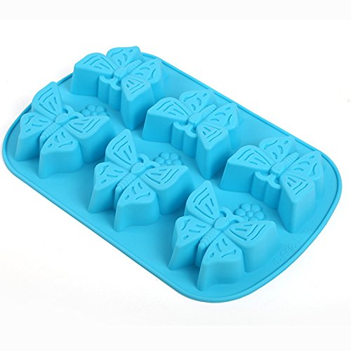Always Your Chef 6-Cavity Silicone Cupcake Baking Cups Handmade Soap Molds, Candy Molds & Chocolates Molds & Ice Cube Trays,Butterfly Shaped, Random Color