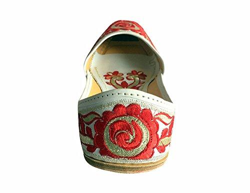 Di Donna Donne Motivo Forma S Etnico N Da Ballerina Le scarpe bianco Khussa Multicolore Classica Shoes Scarpe Jutti A Punjabi Step Phulkari Dicono rosso Htw7qZ