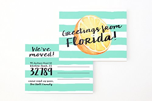 (Moving Announcement Postcards Change of Address Cards We've Moved to the Beach California Florida Tropical Moving Cards Watercolor Orange)