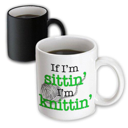 3dRose Mug If Im sittin Im knittin, Lime Green (mug_193226_3) - 11oz - Transforming, Black/White