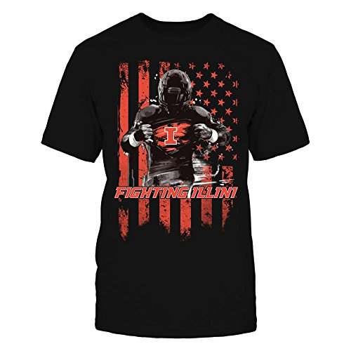 (Illinois Fighting Illini Player Flag Black Men's Tee - Official Sports)