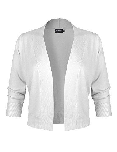 BASIC & BASIC+ BBP Classic 3/4 Sleeve Open Front Cropped Bolero Cardigan White M ()