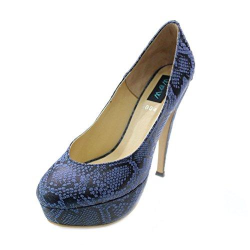 W & W Reeba mujeres señoras noche tribunales zapatos tacón sandalias de fiesta boda novia tamaño (Reeba) Azul
