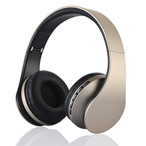 US Shipping Gold Bluetooth Headphones Wireless Stereo Headsets Earbuds with Mic Support TF Card FM Radio for iPhone Samsung