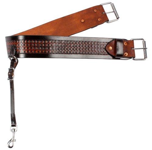 Hand Tooled Saddle (BLACK HAND TOOLED WESTERN LEATHER REAR BACK SADDLE CINCH HORSE TACK BACK CINCH FLANK STRAP (Standard))
