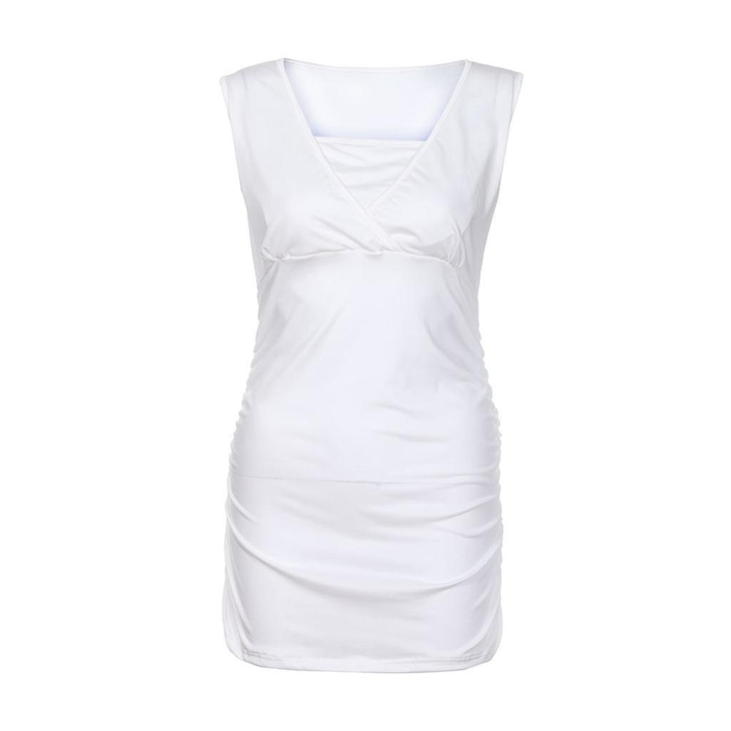 SANFASHION D/ébardeur Maternit/é Habits Femmes Enceintes Shirt Col V Grossesse Simple Taille Huat Casual