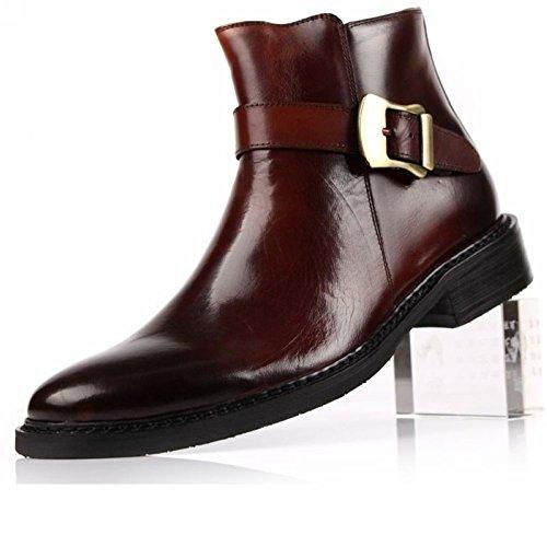 In Laterali laterale Alte zip Uomo Marrone a Cerniere Pelle Scarpe Wuf Shoe Da Stivaletti chiusura Classici con w8xqxvZt6