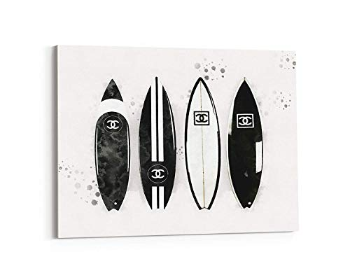 (Fashion wall pop art print - Illustration - Surfer Boards Black and White - Chic Glam Vogue poster on Canvas 11