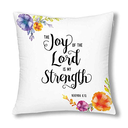 INTERESTPRINT Religious Christian Bible Verse Joy of The Lord Decor Decorative Cushion Pillow Case Cover 18x18 Inch, Square Zippered Pillowcase Protector ()